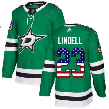 Authentic Adidas Youth Esa Lindell Dallas Stars USA Flag Fashion Jersey - Green